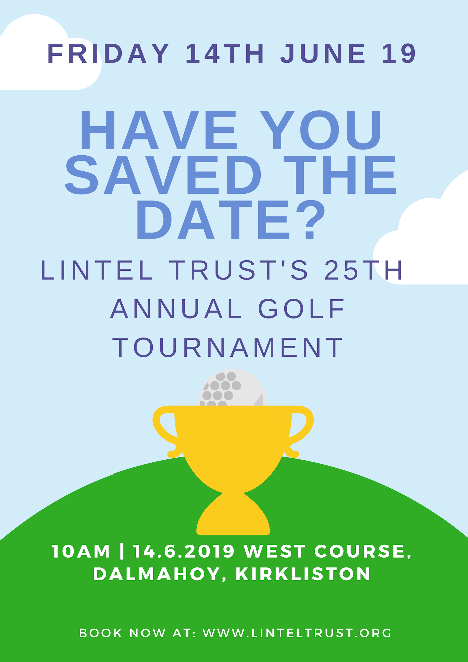 Save the Date poster for 2019 golf tournament, 14th June 2019